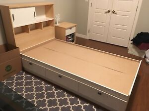 Captains Bed, Headboard, & Side Table