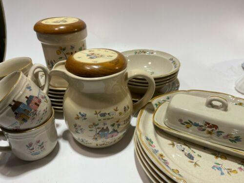 27pcs Set International Stoneware Heartland Farm Animal Mugs, Saucers, Pitcher