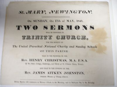 Rev. Henry Christmas 1840 Unsigned Broadside ()