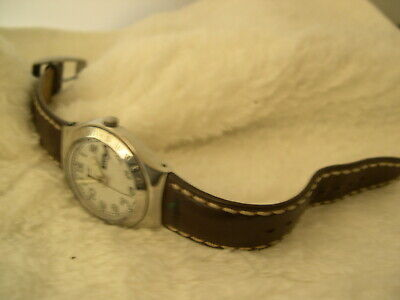 """M03, SWATCH Irony, Silver Face, 8.5"""" Stitched Leather Band, month and day"""