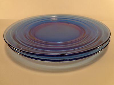 "Vintage 1934-1942 Moderntone Cobalt Set of Two 8"" Luncheon Plates Hazel Atlas"