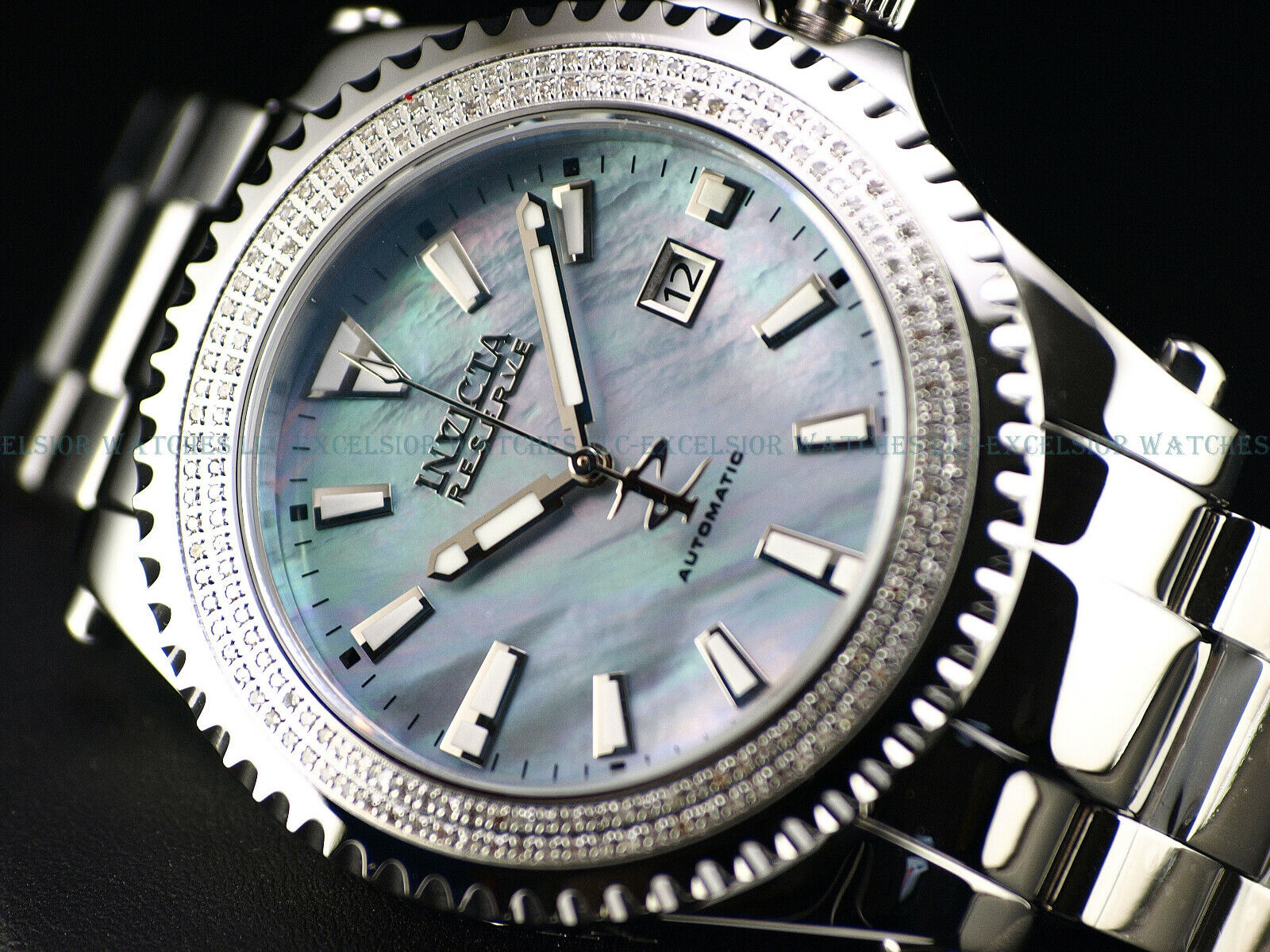 Invicta Reserve Diamond Grand Diver Swiss Automatic Platinum MOP Sapphire Watch