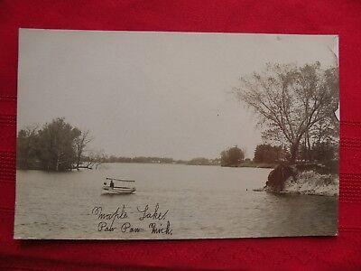 Vintage RPPC MAPLE LAKE PAW PAW Michigan Wood Boat VanBuren County Postcard