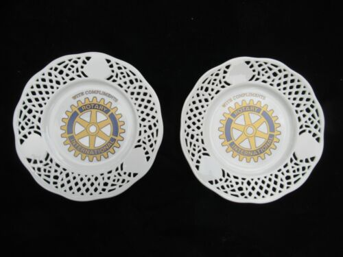 Rotary International Plates Lot of 2 Pierced Ceramic White Gold Blue Decorations