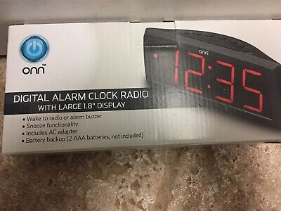ONN AM/FM Digital Alarm Clock Radio Large 1.8 Display Battery Back Up Not Incl