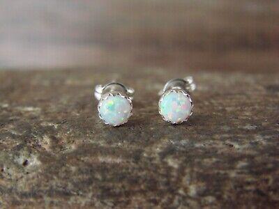 Native American Sterling Silver White Opal Dot Post Earrings! Navajo Indian