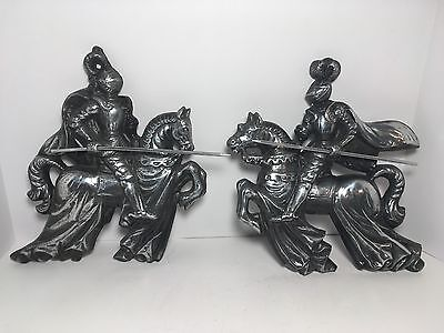 Vintage Medieval Knight Jousting Horse Set Of 2 Wall Home Decor