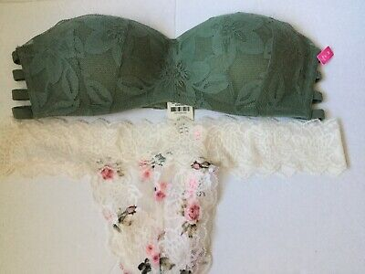 Lace Strapless Thongs - Victoria Secret PINK Lace Floral Strapless Wireless Bra & Thong panty Set MEDIUM