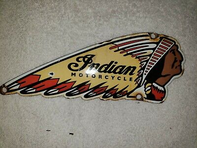 VINTAGE INDIAN MOTORCYCLES PORCELAIN SIGN CHEIF CONVEX HARLEY