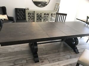 New rustic farmhouse dining table dark brown with 2 leaves