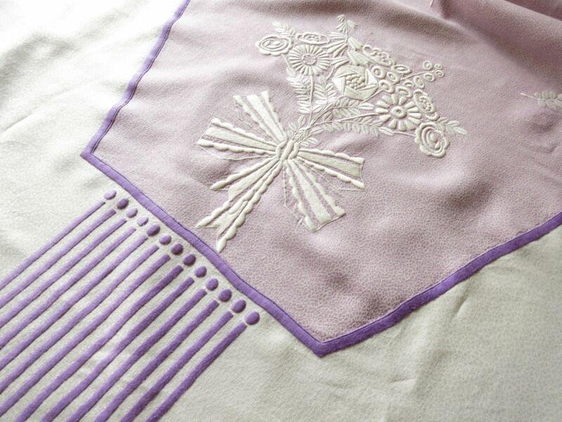 Art Deco Pebbled Linen Damask Tablecloth Purple Stripes Flowers 76x98