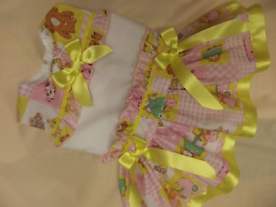 ISH LEMON PINK PATCH SUMMER  LINED DRESS 6 MONTHS TO 7 YEARS (Baby Kleider Clearance)