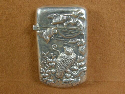 ANTIQUE STERLING SILVER REPOUSSE MATCH SAFE WITH OWL & BIRDS MOON LIT SKY