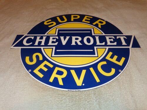 """VINTAGE SUPER CHEVROLET SERVICE 20"""" PORCELAIN METAL CAR, TRUCK GASOLINE OIL SIGN"""