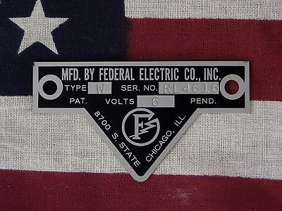 Federal Electric Co. Older Federal Siren Models W Wl Replacement Badge 6 Volt