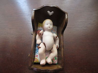 Bisque Baby Doll Wire Jointed  with Cradle and Mattress Miniatures Dollhouse