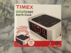 NEW Timex Simple Set Alarm Clock with LED Display Model T123S Silver