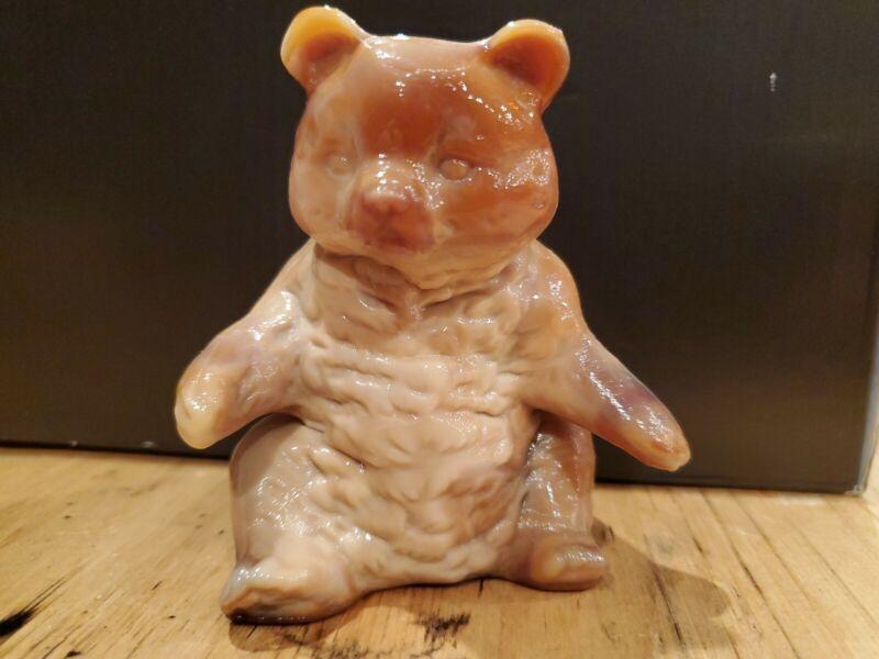 Vintage Mosser Caramel Slag Glass Paperweight Bear Figurine MINT