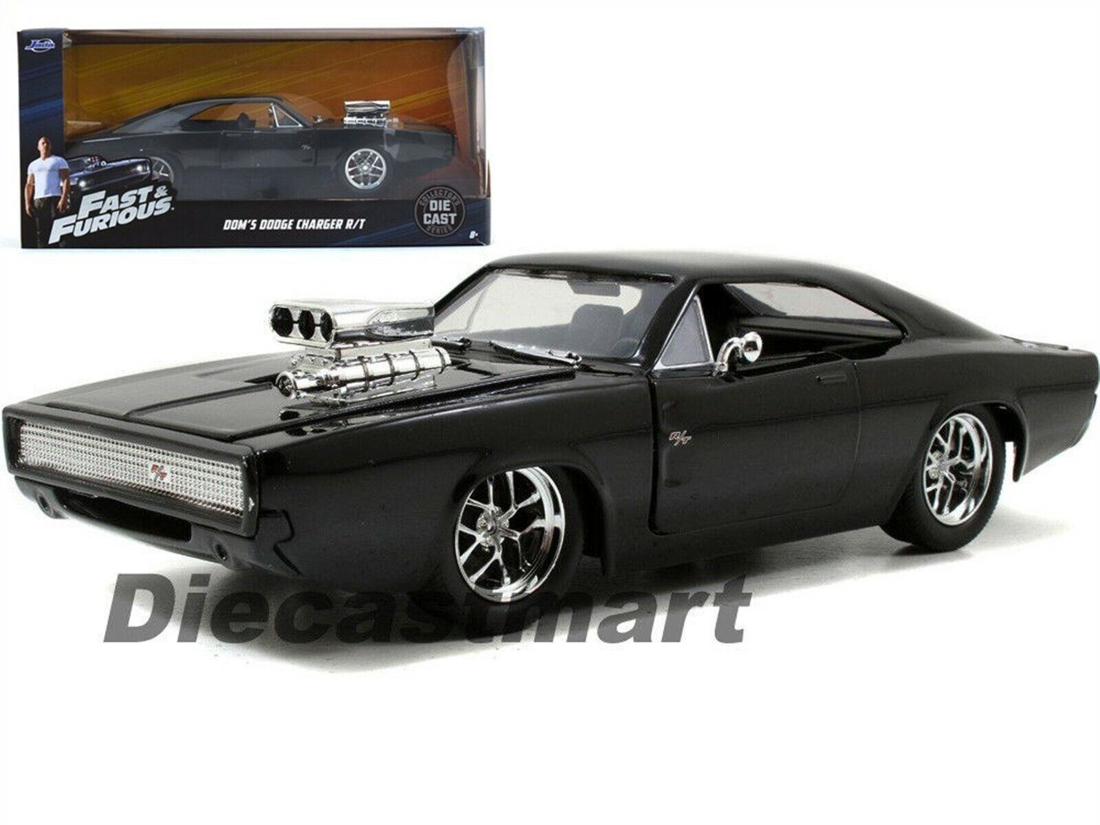 Jada 97059 Fast Furious 7 Dom S 1970 Dodge Charger R T 1 24 Glossy Black Ebay