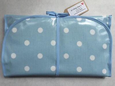 Laura Ashley Pale Blue Spot Pvc Wipe Clean Handmade Baby Travel Change Mat