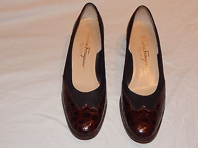 SALVATORE FERRAGAMO Black Suede Brown Croco Cap Leather Pumps sz 9 1/2 (Brown Croco Leather Pump)