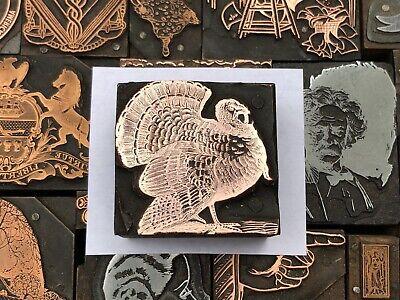 Large Antique Vtg Wood Metal Turkey Letterpress Print Type Cut Ornament Block