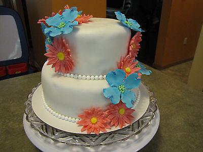 Edible Fondant Handmade Flower cupcake Topper Decoration Baby Bridal Shower Rose