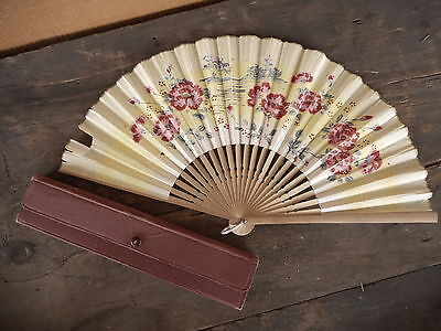 Vintage Japan Paper Fan Flowers Souvenir has some tears etc selling as is