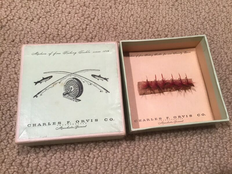 RARE VINTAGE C. F. ORVIS SUPERFINE FLIES FLY Antique And MINT