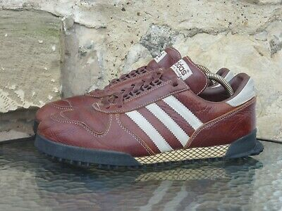 Vintage 2002 Adidas Marathon TR UK 10 Made In China Brown Leather Originals Rare