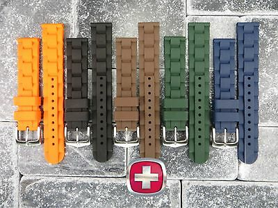 Neu 20mm Wenger Swiss Army Original Gummiband Taucher Uhrenarmband Schwarz