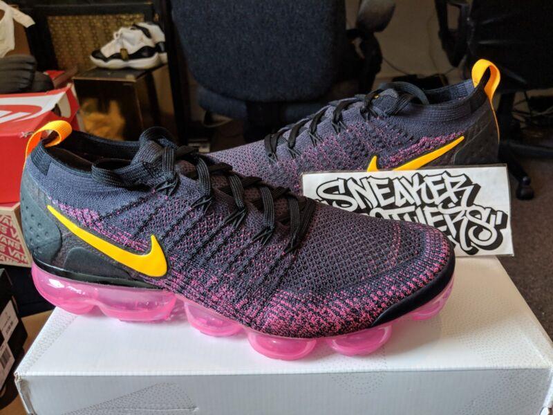 2f47c9b7057 Nike Air Vapormax Flyknit 2.0 Pink Blast Black Gridiron Laser Orange 942842 -008