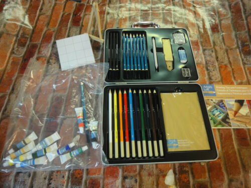 Artists Loft necessities kit w/ metal case acrylics pencil lot sketching pad ++