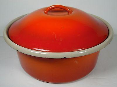 OLD VINTAGE UNMARKED FLAME RED ORANGE COLOR ENAMEL CASSEROLE POT PAN WITH LID