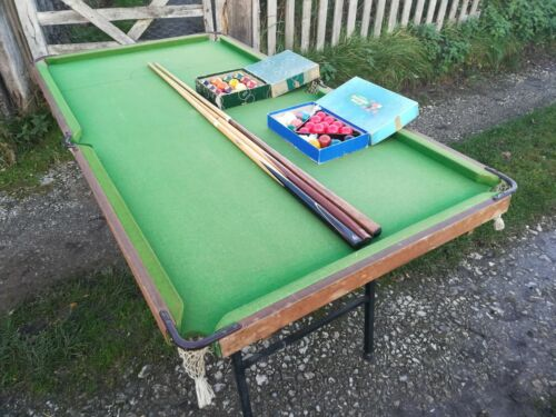 Half Size Vintage Pool Snooker Table With Balls And Cues