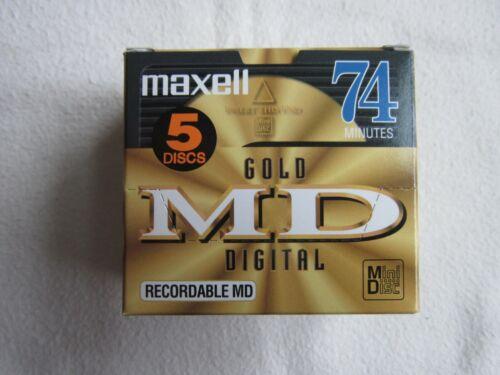 5 PACK Unused New Stock MAXELL 74 GOLD MD DIGITAL Minidisc