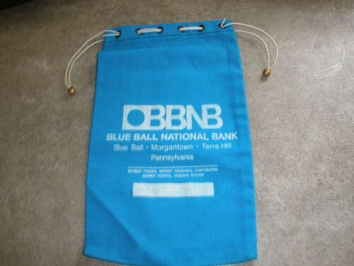 Vintage Bank Deposit Bag Canvas Blue Ball National Bank PA