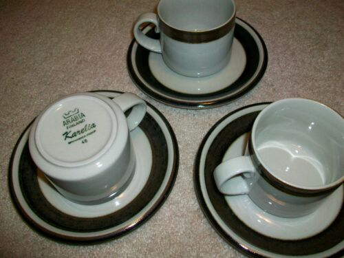 3 ARABIA FINLAND KARELIA COFFEE TEA CUPS SAUCERS ANJA JAATINEN-WINQVIST