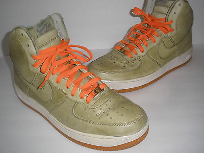 NIKE AIR FORCE 1 GREEN LEATHER SIZE US 14 EUR 48.5 UK 13 RARE ONLY 1 ON EBAY