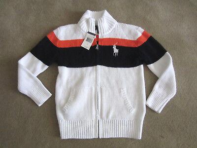 Ralph Lauren Young Boys Full Zip Long Sleeve Knit Sweater Size 6 NWT $75