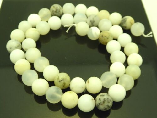 """Natural White Dendritic Opal Gemstone Africa Smooth Round 8mm Beads Strand 15.5"""""""