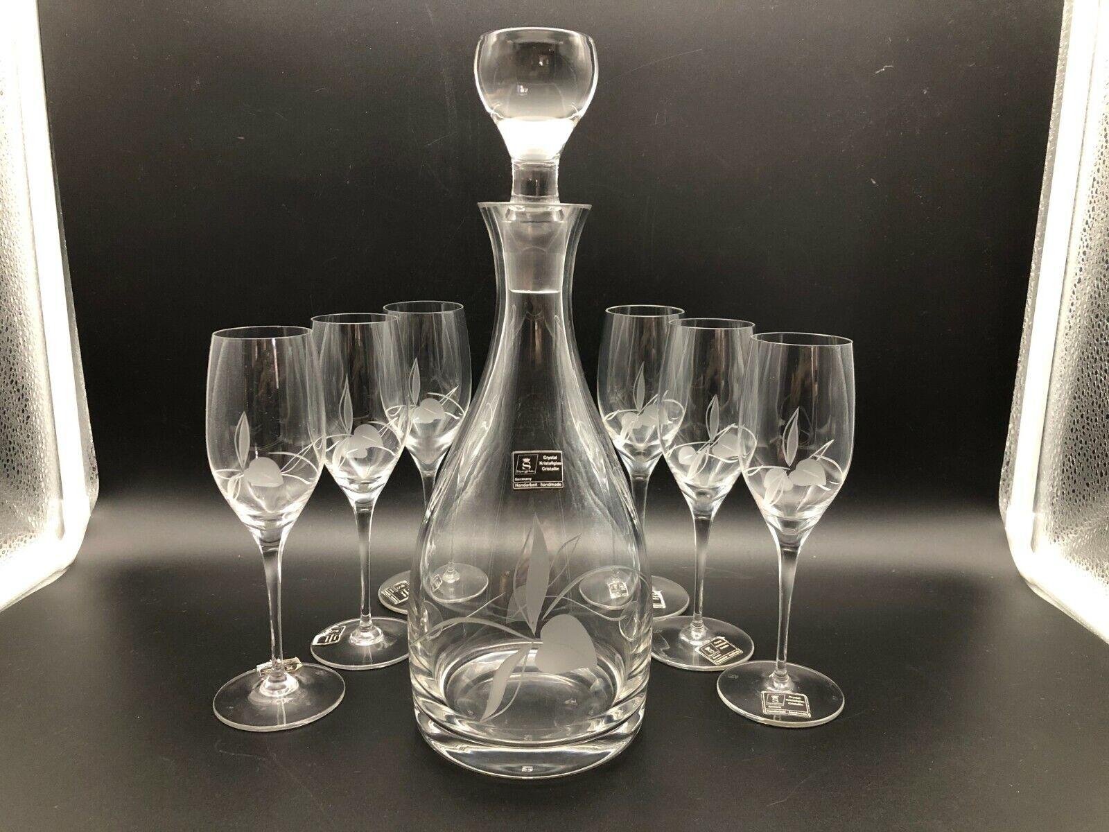 Spiegelau Karaffe + 6 Sherry-Grappa-gläser Schliff Kirschen geätzt Kristall-glas