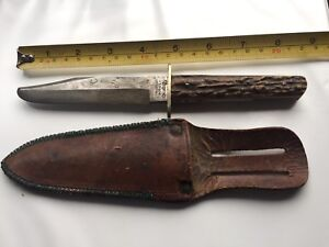 Antique Jonathan Crookes Heart and Pistol England Old Knife Stag