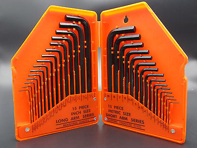 30Pc Sae Metric Allen Wrench Hex Key Set  Long Short Arm With Case Tool Kit