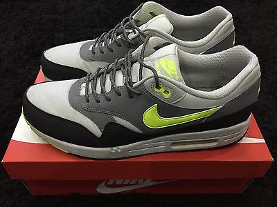 USED NIKE AIR MAX 1 GREY VOLT WHITE MENS UK 10 OG PRM QS DAVE FLY HUARACHE KNIT