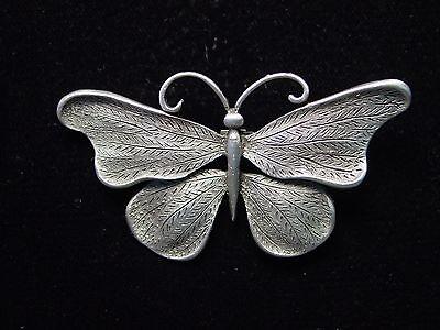 Jj  Jonette Jewelry Silver Pewter Large Butterfly Pin