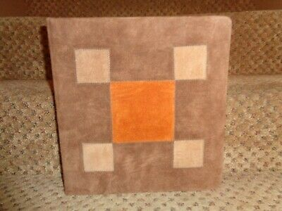 Vintage Suede Leather Block Pattern 3-ring Notebook Photos Collections Binder