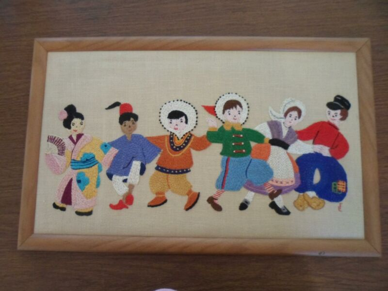 Beautiful Framed Embroidered Artwork of 6 People in Native Costumes
