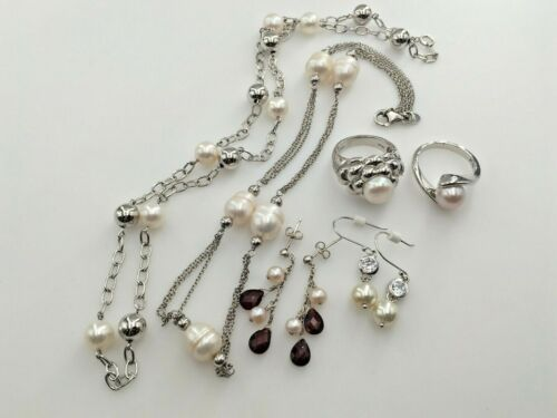 LOT OF PEARL CZ AND GARNET 2 RINGS; 2 CHAIN NECKLACES; 2 PAIRS DANGLE EARRINGS