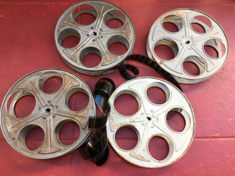 """2, Vintage 35mm Film Reel 10"""" Movie Projector Steel Reels W/ 10ft Free Film LR"""